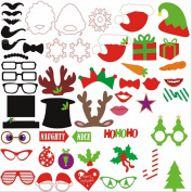 Gaobei 50 PCS Christmas Hat Reindeer Antlers Bearded Lips Funny Funny Creative Shooting Photo Props
