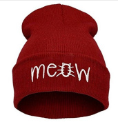Fashion Red Meow Cap Men Casual Hip-hop Hats Knitted Wool Skullies Beanie Hat Warm Winter Hat for Women