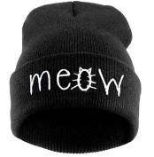 Fashion Black Meow Cap Men Casual Hip-hop Hats Knitted Wool Skullies Beanie Hat Warm Winter Hat for Women