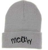 Fashion Grey Meow Cap Men Casual Hip-hop Hats Knitted Wool Skullies Beanie Hat Warm Winter Hat for Women