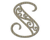 Unfinished Wood Lucid Style Letter Monogram in 44cm X 47cm Door Hanger