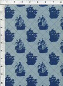 "Riley Blake Emily Taylor ""Pirate Matey"" Clipper Ship Blue Nautical Fabric"