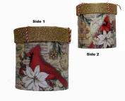 Punch Studio Holiday Christmas Glitter Top Trinket Gift Cylinder Box