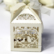 Love Bird Luxury Lase Cut Wedding Sweets Candy Gift Favour Boxes with Ribbon Table Decorations