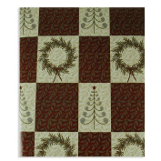 Checkerboard Pattern Wreath and Christmas Tree Premium Wrapping Paper