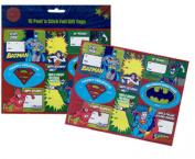 Dc Comics Super Hero 16 Peel 'N Stick Foil Christmas Gift Tags