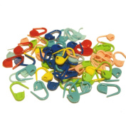 Amgate Small Size Crochet Locking Stitch Markers - Plastic Ring Markers for Knitting Random Colour, Pack of 100-piece