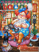 The Lady Who Loves Cats Counted Cross Stitch Kit
