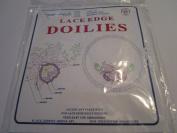 Lace Edge Doilies ... Pattern 260 Orchids & Vines ... Two 30cm Round Lace Edge Doilies