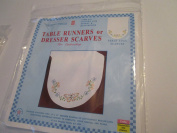 Stamped Table Runners or Dresser Scarves for Embroidery ... Floral and Butterflies ... Perle Edge