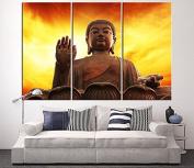 Buddha Statue Art Canvas Painting, Buddha Large Canvas Art, Sunset and Buddha Statue Extra Large Wall Art Canvas, Streched, Framed - 41cm x 80cm Each Panel- 120cm x 80cm Total