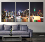 New York Large Wall Art Canvas - New York 3 Panel Large Wall Art - 50cm x 80cm Each Panel- 150cm x 80cm Total