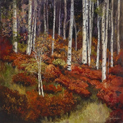 "Oil Painting Print of , Quaking Aspen Forest ""Red Study""-11x11, Painted By Stewart Huntington"