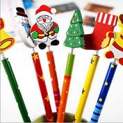KitMax (TM) Pack of 12 Pcs Novelty Christmas Cartoon Decor Pencil Office School Supplies Students Children Gift