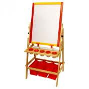 US Art Supply FLIP-OVER Children's Paint & Drawing Artist Easel with Chalkboard & Dry Erase Board, 3 Large Storage Bins, Paper Roll, Chalk, Chalkboard Eraser & 5 No-Drip Paint Cups