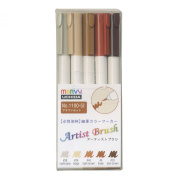 Marvy aqueous dye potted cucumber marker artist brush 5 pcs Brown set 1100-5I