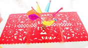 Mexican Wedding Decoration, Red Table Runner, Papel Picado, Fiesta Party, Mexican Style Ceremony, Tissue Paper, Hand-crafted, Birthday Party Kids