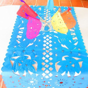 Mexican Wedding Decoration, Aqua Blue Table Runner, Papel Picado, Fiesta Party, Mexican Style Ceremony, Tissue Paper, Hand-crafted, Birthday Party Kids