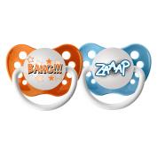 Ulubulu 6 - 18 Month Comic Pacifiers 2-Pack - Bang and ZAAP