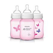 Philips AVENT 270ml Classic+  Bottles 3-Pack - Pink Butterflies