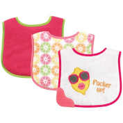 Luvable Friends 3 Pack Bibs with Teether - Pink Lemon
