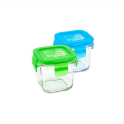 Wean Cube Colour Combination 2 Pack Glass Storage Containers - Pink/Orange