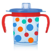 Evenflo Feeding Triple-Flo Tilty Trainer Cup - Blue/Red Polka Dot