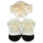 Baby Essentials Bow Headband and Sock Set - Ivory