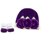 Baby Essentials Crochet Hat and Sock Set - Purple