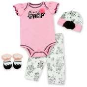 Baby Essentials Born to Shop 4 Piece Newborn Layette Set