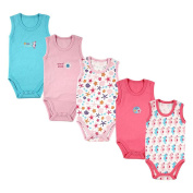 Luvable Friends Girls 5 Pack Pink/Blue Sleeveless Bodysuits with Seahorse and Starfish Prints