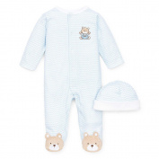 Little Me Boys 2 Piece Blue Chevron Print Footie with Bear Foot Art and Hat Set