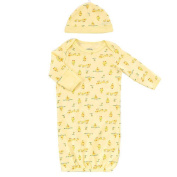 Little Me Neutral Yellow Allover Chick Print Lap Shoulder Gown - 0-6 Months