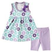 Hudson Baby Girls Purple Sand Dollar Printed Tunic Dress and Cropped Leggings