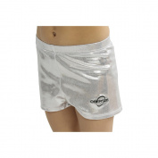 Obersee Girls Silver Metallic Shimmer Gymnastics Shorts