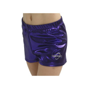 Obersee Girls Purple Metallic Shimmer Gymnastics Shorts