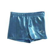 Obersee Girls Turquoise Metallic Shimmer Gymnastic Shorts