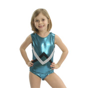 Obersee Girls Shimmer Green Chevron Gymnastics Leotard
