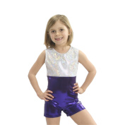 Obersee Girls White/Purple Shimmer Gymnastics Biketard