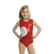 Obersee Girls Red/White Shimmer Heart Gymnastics Leotard