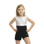 Obersee Girls White/Black Shimmer Gymnastics Biketard