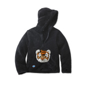 HoodiePet Neutral Black Fleece Hoodie with Attached Clawie the Tiger Plush Pet- 3T-4T