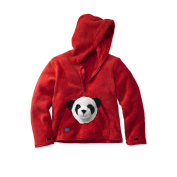 HoodiePet Neutral Red Fleece Hoodie with Attached Bambooie the Panda Plush Pet- 3T-4T