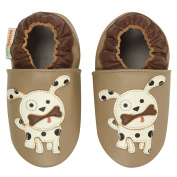 Momo Baby Boys Spotted Puppy Soft Sole Leather Shoes- Tan