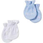 Gerber Boys Light Blue and White Textured 2 Pack Mittens - 0-6 Months