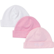 Gerber Girls Pink/Purple/White Assorted 3 Pack Textured Knit Hats - 0-6 Months