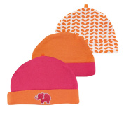 Yoga Sprout Girls 3 Pack Pink/Orange Elephant Hats- 0-6 Months