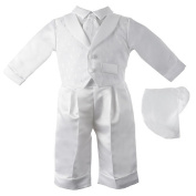 Small World Boys Christening 3 Piece Shantung Set with Pleated Pants, Cross Embroidered Faux Vest and Tie Shirt, and Hat