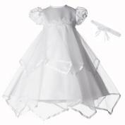 Small World Girls White Hankerchief Satin Trim Poof Sleeved Christening Dress with Pearl Detail and Headband