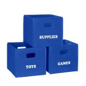 RiverRidge Kids Blue Folding Storage Bin with Print - Supplies